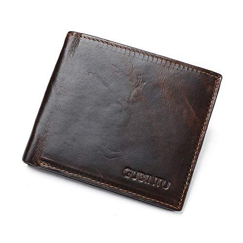 SN2K Echtleder Herren Portemonnaie - 9 Kartenfächer - Moderne Geldbörse - Schmales Design - Slim Männer-Portemonnaie, mit RFID-Schutz Hochwertige Brieftasche mit Klappfach aus echtem Leder