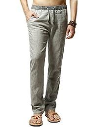 Elonglin Homme Pantalon de Loisir en Lin Confortable Respirant Taille Elastique Cordon de Serrage