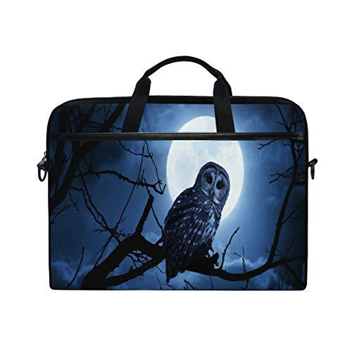 Hunihuni Moon Night Owl Tree Laptop Schultertasche Messenger Bag Case Aktentasche mit Tragegurt für Herren Frauen Jungen Mädchen