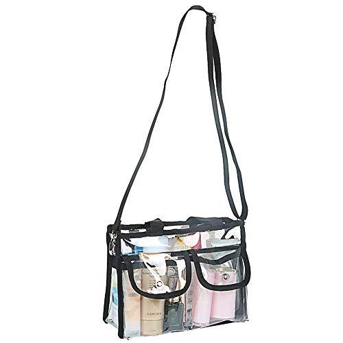 LUVODI Transparent Kulturtasche Klar PVC Kosmetiktaschen wasserdichte Reisetasche Makeup Organizer mit Verstellbarem Schultergurt& 2 Außentaschen