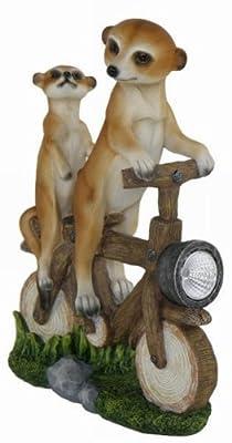 2 Erdmännchen auf Fahhrad mit Solar Laterne Figur Licht TOP Gartenfigur