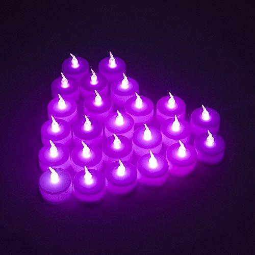 MAXAH® LED velas pequeñas 24er Set sin llama velas eléctricas con baterías, velas de iluminación estado de ánimo como para vacaciones Navidad / Año Nuevo / cumpleaños / tarjeta del día / de la boda, etc. (púrpura)