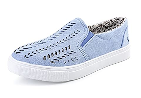 Minetom Women's Casual Round Head Hollow Out Carving Loafers Comfortable Breathable Slip On Flat Shoes Solid Color Espadrilles Moccasins Blue UK 7