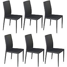 Juego de 6 sillas apilables Estonia, forradas con tela, color gris, 92 x 52 x 43 cm