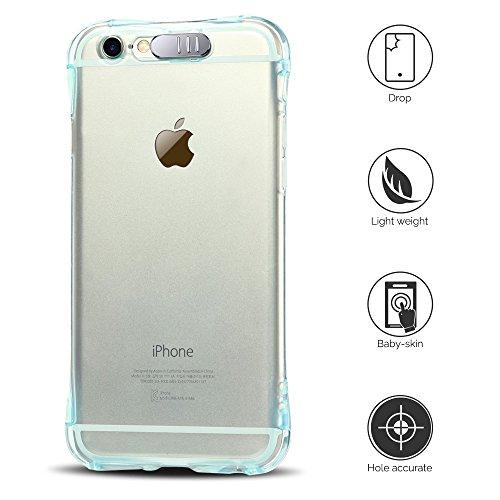 Coque iPhone 6 / 6S Plus (5.5 pouce) , TPU Transparente Case Silicone Slim Souple Étui de Protection Flexible Soft Cover Anti Choc Ultra Mince Couverture Bumper Anfire Housse pour iPhone 6 Plus - Vert Bleu