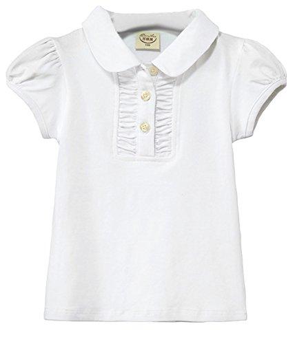 EOZY Kinder Shirt Mädchen Polo Shirt Kurzarm Basic T-shirt Weiß Brust 62cm