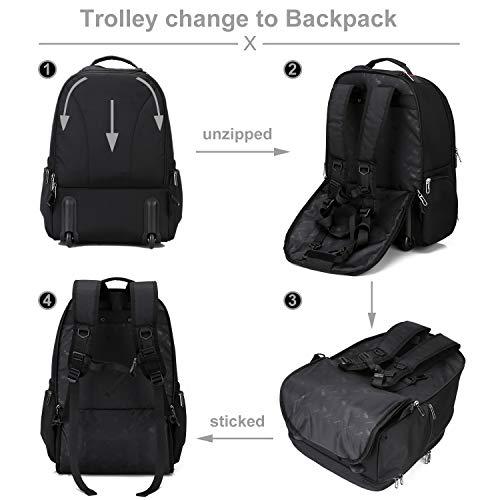 OIWAS Rucksack mit Rollen 30L Schlichtes Trolley Handgepäck für Business Reise und Urlaub passt bis zu 15,6 Zoll Laptop