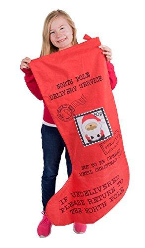 Clever creations, calza di natale gigante spedita da babbo natale, rossa e nera, in tessuto morbido di peluche, con scritte in lingua inglese, con stampa di francobollo, decorazione natalizia, 94 cm x 59,7cm di larghezza sulla punta