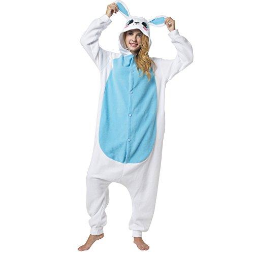 Imagen de kigurumi pijama disfraz de animal traje de dormir para adultos unisex  ideal para cosplay, carnaval o halloween  conejo azul con capucha xl alternativa