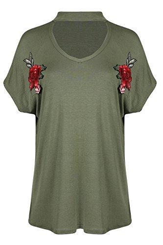 Oops Outlet Damen gebogenem Saum Halsband Hals Lagenlook Fledermausärmel Rose Blumenmuster Stickerei Damen Top Khaki