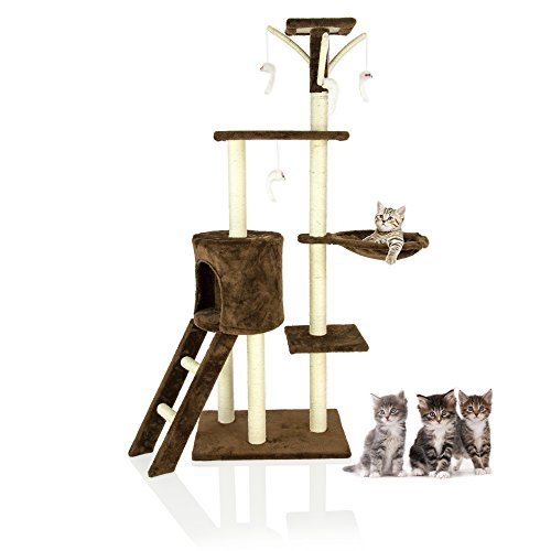 Cozy Pet Deluxe Multi Level Cat Tree Scratcher Activity Centre Scratching Post with Heavy Duty Sisal Cat Trees Chocolate CT06-Choc. (We do not ship to the Channel Islands or The Isles of Scilly.)