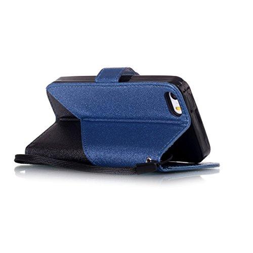 iPhone SE 5SE 55S Case, Case First due colori design PU pelle portafoglio Case Cover Flip Cover con Cinturino da Polso e Card Slot per iPhone SE 5SE 55S Dunkelblau + Schwarzes