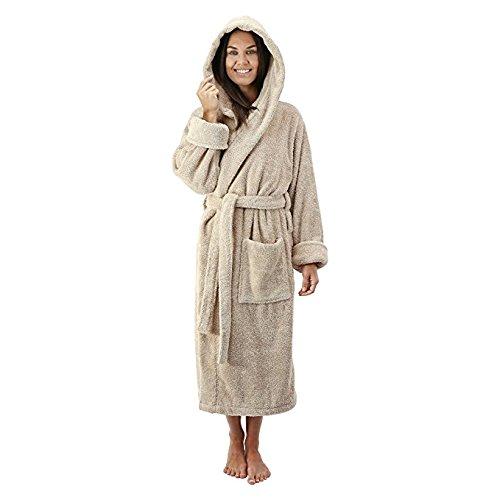 Comfy Robes Women's Deluxe 20 oz. Turkish Cotton Hooded Bathrobe, S/M Beige