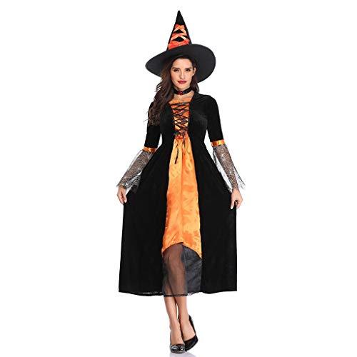 carol -1 Kostüm Set Hexe mit Hexenkleid und Hexenhut Schwarz Erwachsener Hexen-Kostüm für Damen für Faschings- und andere Mottopartys Lange Cosplay Kleid Halloween und Abendkleid (Superman Returns Alle Kostüm)