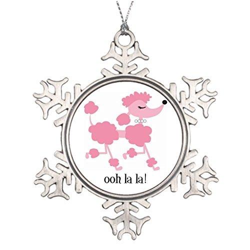 JeremyHar75 Weihnachtsbaumschmuck, Motiv: Pinker Pudel, Schneeflocke, Zinn, lustige Weihnachtsbaumschmuck