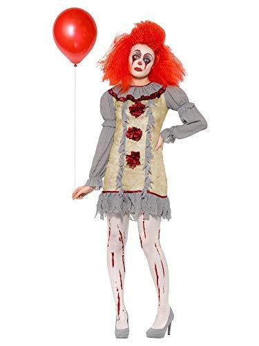 Mädchen Kostüm Clown Mörder - shoperama Damen-Kostüm Vintage Clown Geist Killer Pennywise Halloween gruselig Horror Es Mörder gruselig boshaft, Größe:L