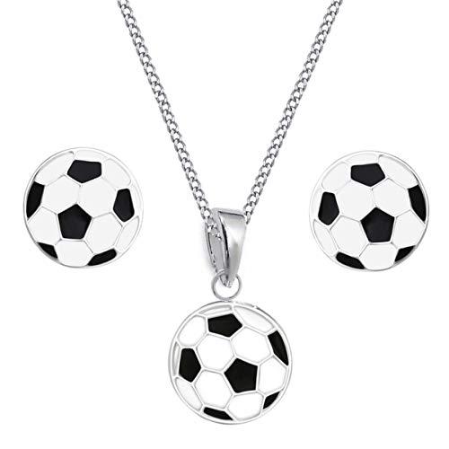 Fussball Kinder Set Ohrstecker Anhänger Halskette 925 Sterling Silber Mädchen Ohrringe (38)