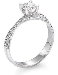 Zertifikat Klassischer 18 Karat (750) Gelbgold Damen - Diamant Ring Round 0.60 Karat F-SI3 (Ringgröße 48-63)