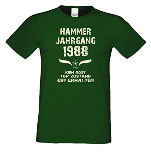 Geschenk zum 29. Geburtstag :-: Geschenkidee Herren Geburtstags-Sprüche-T-Shirt mit Jahreszahl :-: Hammer Jahrgang 1988 :-: Geburtstagsgeschenk Männer :-: Farbe: dunkelgrün Dunkelgrün