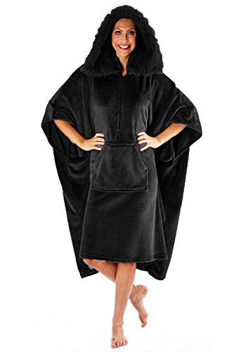 Femmes Lounge Poncho De Luxe Polaire Souple Femmes Capuche Fausse Fourrure Long Robe Chaude Noir