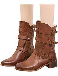 Botas Camperas cuña para Mujer Invierno 2018 PAOLIAN Botas Vaqueras de Agua Lluvia Impermeable caño Altas Tacon Ancho Zapatos Señora Calzado Botas Media Piel Cremallera Negras Otoño