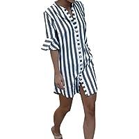 SunGren Tops de Las Mujeres, Las Mujeres de la Moda Trompeta Mangas a Rayas Camisa de Manga Larga Camisa
