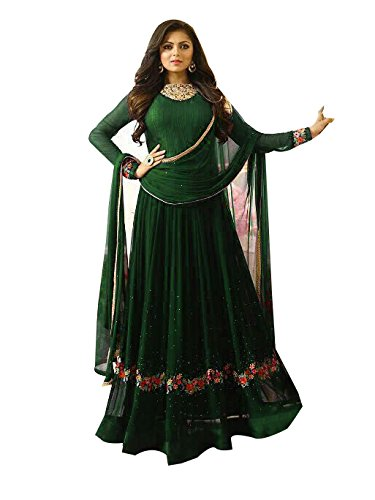 FFASHION Women's Georgette Salwar Suit Material (Green_Free Size)