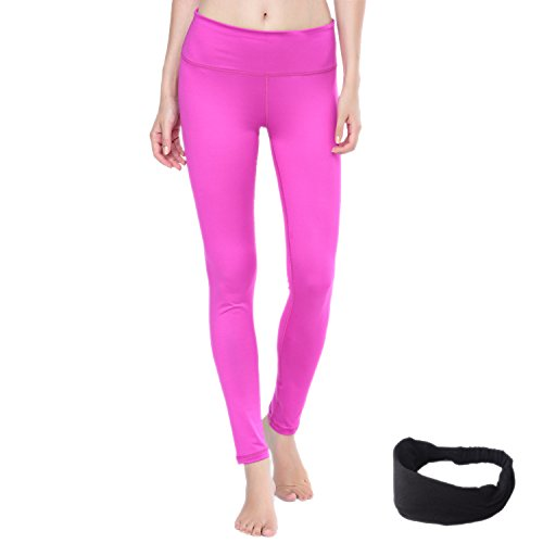 Damen Leggings lang Sport Yoga Hose Stretch Workout Schwarz mit Tasche (XS Rosa)