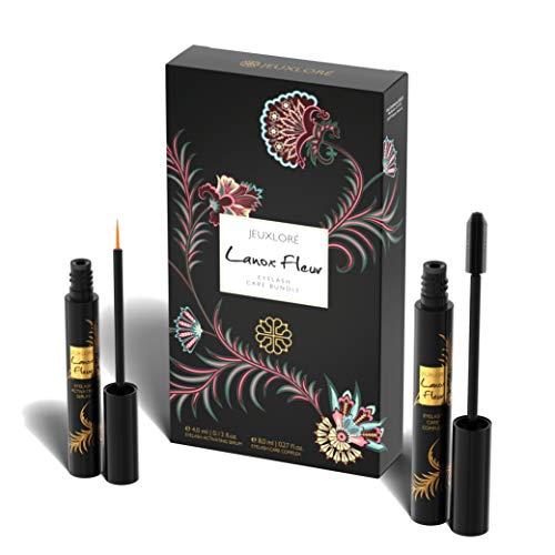 JEUXLORÉ - Lanox Fleur Eyelash Care Bundle - Wimpernpflege Set mit 4 ml Wimpernserum für Wimpernwachstum und 8 ml Pflegestift mit Rizinus Öl und Vitamin E - hochwertig hergestellt in Österreich