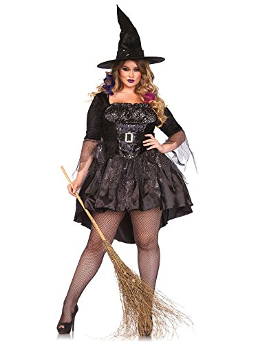 Heisse Hexe Zauberin Halloween Damenkostüm Plus Size schwarz silber XXXL