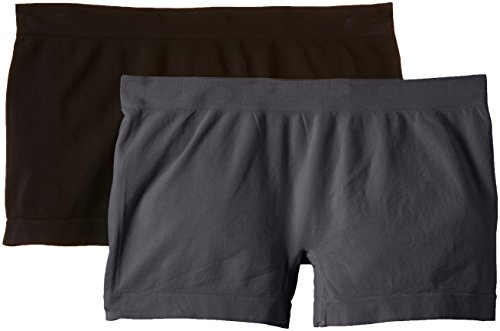 Luigi di Focenza Damen Panties 1704, 2er Pack Grau (anthrazit-schwarz 077/001)