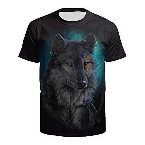 ManY lustige T-Shirts Mode 3D Digitaldruck Sommer Paar Kostüm Wolf Kopf Druck T-Shirt Wild Top Fashion for Herren T Shirts Womens Beiläufig (Color : Black, Size : - Top Paar Kostüm