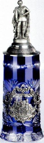 magicaldeco Kristall Bierkrug Raute/Facette -Neuschwanstein König Ludwigdeckel - King Ludwiglid- German Beer Stein, Beer Mug - mit Deckel aus Zinn 97% limitiert -