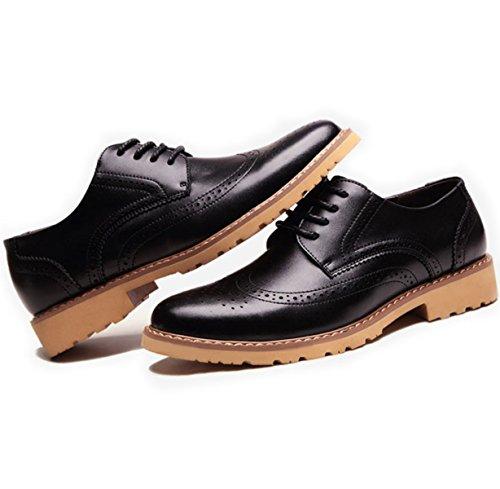 Lyzgf Hommes Chaussures À Lacets En Cuir Casual Men's Gentleman Business Noir