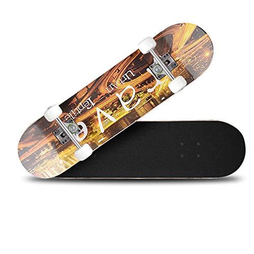 XULONG Hölzernes Skateboard, Vierrädriges Skateboard, Ahorn Deck, 200Kg Last, Geeignet Für Anfänger Und Profis -