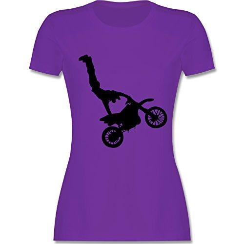 Motorsport - Motorrad Stunts - tailliertes Premium T-Shirt mit Rundhalsausschnitt für Damen Lila
