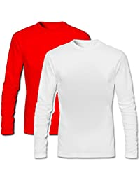 T Shirt - Full Sleeve Round Neck Plain 100% Cotton T Shirt - Red And White Combo Full Hand Round Neck Cotton T...