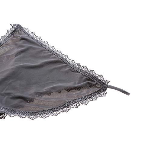 Haodou String mit Spitze Damen Unterhose Polyester Unterwäsche Reizvolle Wäsche durchsichtige Tanga G-Schnur Schlüpfer Damenwäsche Dessous (Dunkelblau-L) - 2