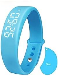 Blue : Kolylong Sports Bracelet, W5 Health Pedometer Sleep Monitor Temperature Bracelet Smart Watch