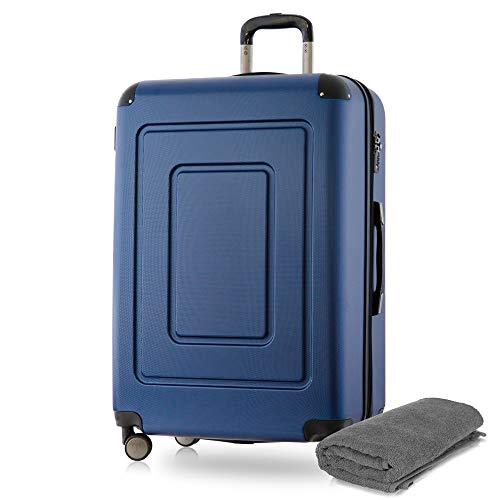 Happy Trolley - Lugano Hartschalen-Koffer Koffer Trolley Rollkoffer Reisekoffer Lugano, sehr leicht + stabil, TSA, 76 cm, 113 Liter, Dunkelblau +Badehandtuch