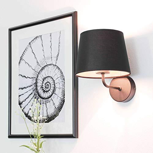 Wandleuchte Schwarz Stoff Schirm Trichter Metall Gestell Bauhaus Design Schlicht E27 Flurlampe...