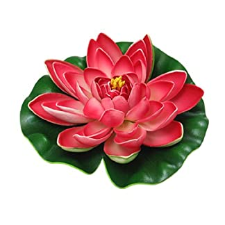 Sourcingmap Foam Garden Pond Floating Water Plant Lotus, Green/Red 3