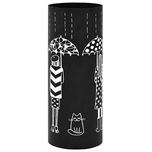 Festnight Regenschirmständer Frauen-Design | Metall Schirmständer | mit Wasserauffangschale | Schwarz Pulverbeschichtetem Stahl | 18x48,5 cm