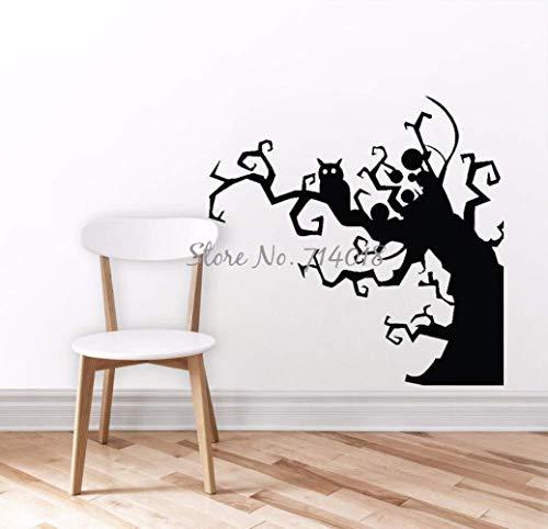 QTDM Baum Wandtattoo Spuk Eule Fledermaus Windung Äste Wandaufkleber Halloween Dekorationen Holiday Art Murals Party Vinyl Aufkleber 100x100cm, 100x100cm (Halloween Dekoration Ast,)