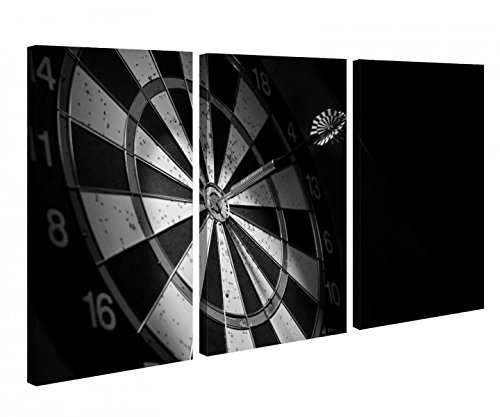 Leinwandbild 3 Tlg. Sport Dart Pfeil Dartscheibe schwarz weiß Darts Leinwand Bild Bilder Holz fertig gerahmt 9R859, 3 tlg BxH:120x80cm (3Stk 40x 80cm)