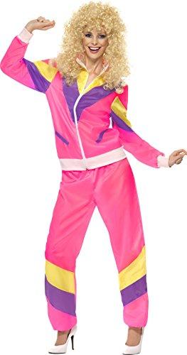 Smiffys Damen 80er Jogginganzug Kostüm, Jacke und Hose, Größe: S, 39660 (80er Jahre Anzug Kostüm)