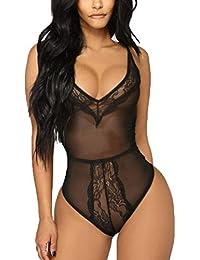 DOGZI Mujer Lencería Malla cordón lencería erótica Sexy Lencería Vestir Picardias  Mujer Ropa Interior Ropa de 6a0b65fc187d