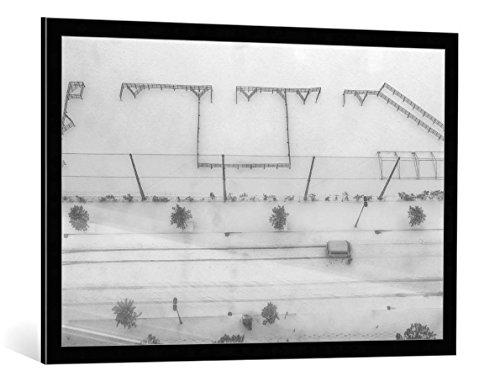 kunst für alle Bild mit Bilder-Rahmen: Tomoshi Hara Snow White - dekorativer Kunstdruck, hochwertig gerahmt, 100x65 cm, Schwarz/Kante grau (Snow White Bilderrahmen)