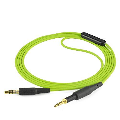 Geekria Quickfit sostituzione cavo con microfono per AKG K430K450K451K452Q460K480, JBL J55, J88cavo audio con microfono e controllo volume, compatibile con Android, Apple device (verde 1,2m)