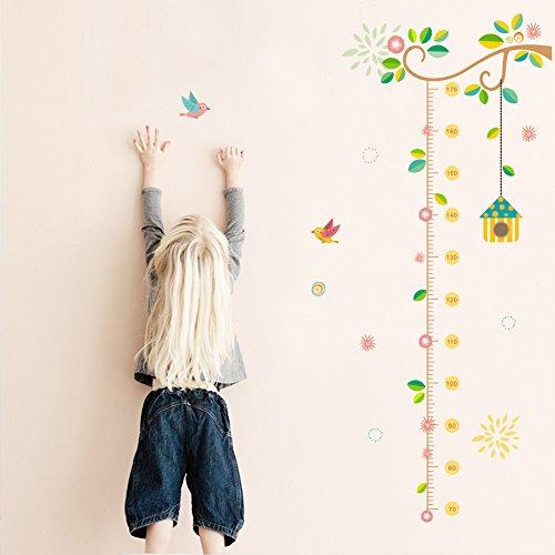 ElecMotive Abnehmbare Messlatte Körpergröße Messen Wandsticker für Kinderzimmer in Geschenkkarton verpackt (Vogel)